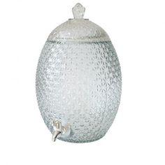 """Distributeur à boissons ananas - 10 L - Cette magnifique fontaine à boissons est en verre travaillé comme la peau d'un ananas. Ce qui lui donne un aspect bohème et tendance.  D'une contenance de 10 litres, elle sera idéale pour un mariage, un anniversaire ou un baptême :) Placez cette bonbonne à jus ou à limonade sur une jolie table décorée pour rafraîchir vos convives.  Pensez à ajouter une pancarte """"Servez-vous"""" ou une jolie ardoise pour indiquer la saveur à vos invités. Saveur, Ajouter, Jar, Table, Decor, Juice Bars, Slate, Pineapple, Drinks"""