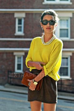 I like the bright yellow with the brown skirt