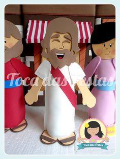 Personagens Bíblicos    30cm de altura aproximadamente    Todo em EVA, com um pequeno peso para dar sustentação.
