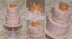 Pink and Gold Edible Lace Crown birthday cake fit for a Princess! Lace crown created from fondant.