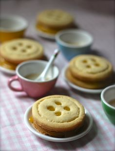 "Button Tarts by Chindeep! Baking cute food for tea time. These measure 2 to 2.5"" across on purpose- big enough to show off the yummy filling in the tarts! Lemon Curd, Raspberry Jam and Fig Preserves. The cookies are pure shortbread."