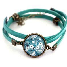 """Bracelet liberty cuir bleu aqua cabochon trois tours """"liberty turquoise et bleu vert""""- vintage rétro"""