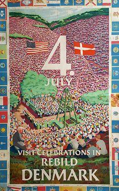 1953 4th of July Rebild Denmark Original Vintage Poster