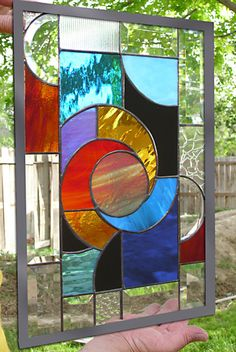 Stained Glass Red Hot Solar Swirl Panel by rneely on Etsy, $189.00