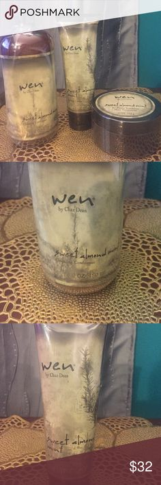 Wen Sweet Almond Mint Products Bundle Cleansing Conditioner, Styling Creme, Re Moist Intensive Hair Treatment Other