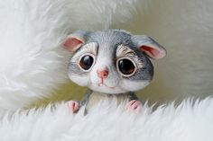 Poseable Shy Gray Mouse Baby OOAK Art Doll Mixed by Ermellin