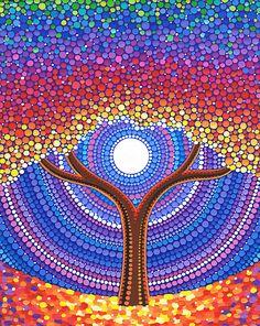 'Lotus Rainbow Mandala' Sticker by Elspeth McLean Mandala Art, Mandala Painting, Aboriginal Dot Painting, Dot Art Painting, Stone Painting, Elspeth Mclean, Arte Fashion, Tree Art, Tree Of Life Art
