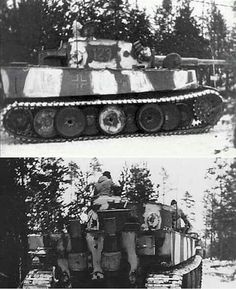 Interesting pattern of adding whitewash over the standard German grey paint on a Tiger 1 operating in winter conditions
