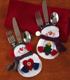 snowman table decorations | Snowman Kitchen Tableware Cutlery Holder Xmas Decor Pocket Dinner ...