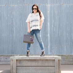 #ootd Madewell overalls and Cabi Capri top Vince Camuto boots and Saint Laurent SDJ At the Famous Cannery Row