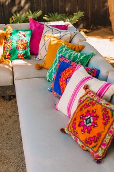 The Mindwelling: Our Colorful California Backyard Reveal - Studio DIY California Backyard, Tropical Backyard, Big Backyard, Decomposed Granite, Basket Lighting, Cozy Patio, Kangaroo Paw, Pergola Shade, Old Stone