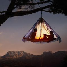 Outside.  Tent.  Tree.  Sunset.  Romance...