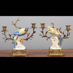 Set of Two Oriental Bronze Ormolu Parrot  Birds Porcelain Candle Holders,10''H. #Unbranded #AntiqueStyle