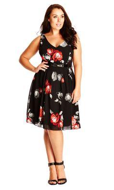 61ac5b0bf3b9e City Chic Rose Smudge Dress - Women s Plus Size Fashion City Chic - City  Chic Your