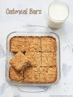 baked oatmeal bars recipe healthy for ingredient baked oatmeal squares recipe.how to make baked oatmeal bars recipe. Baked Oatmeal Recipes, Oats Recipes, Gourmet Recipes, Baking Recipes, Dessert Recipes, Healthy Baked Oatmeal, Oat Flour Recipes, Baked Oats, Corn Recipes