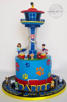 Celebrate with Cake!: Paw Patrol with Tower and Toy Figurines Cake Bolo Do Paw Patrol, Paw Patrol Tower, Torta Paw Patrol, 3rd Birthday Parties, 4th Birthday, Card Birthday, Birthday Ideas, Happy Birthday Funny, Happy Birthday Greetings