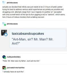 I already have an aunt tho. Marvel Jokes, Avengers Memes, Marvel Funny, Marvel Dc, Marvel Comics, Univers Marvel, Tumblr Funny, Funny Memes, Hilarious