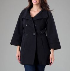 Bell Sleeve Double Breasted Coat with Hood