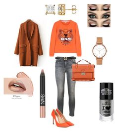 """""""Sans titre #54"""" by ness-11 ❤ liked on Polyvore featuring Skagen, Kenzo, Current/Elliott, Jimmy Choo, Valentino, Gucci and NARS Cosmetics"""