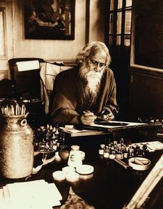 Rabindranath Tagore at his painting desk, Government School of Art, Calcutta (Kolkata), 1932 (India).  S)