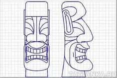 My First Tiki-Style Carvings Wood Carving Designs, Wood Carving Patterns, Wood Carving Art, Bone Carving, Wood Patterns, Wood Art, Wood Carvings, Totems, Tiki Head