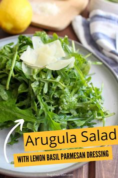 Arugula Salad with Lemon Basil Parmesan Dressing is a bright and light salad that will totally satisfy. This homemade lemon basil dressing will tickle your tastebuds. #salad #arugula #lemon #basil #parmesan #homemadedressing #dressing #summer #sidedish #lunch Easy Salad Recipes, Easy Healthy Recipes, Real Food Recipes, Healthy Foods To Eat, Healthy Salads, Bitter Greens, Simple Green Salad, Lemon Basil, Arugula Salad
