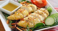 salada -de- frango- com- coco- vinagrete- quente- de- mel- mostarda