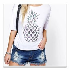 • In Stock Now  • Trendy Metallic Pineapple Top Trend for summer.... Pineapples! Don't be missed in this metallic cropped pineapple top! Boutique Tops Crop Tops