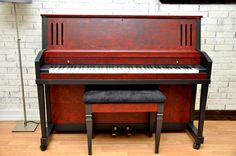 Client:My First Piano. Project : Red and Black Kimball  P-377. I did a plastic wrap pull-off technique, red over black - wet on dry, and flat painted/ upholstered the rest.