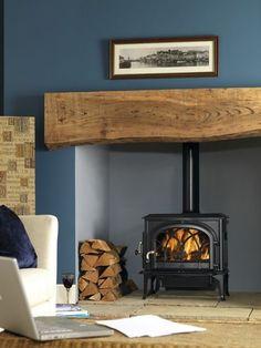 Coat Wardrobe Electric Log Burner Fireplace Ex 13695 Wood Burner Fireplace, Cosy Fireplace, Living Room Decor Fireplace, Inglenook Fireplace, Fireplace Design, Fireplace Stone, Fireplaces, Cottage Living Rooms, New Living Room