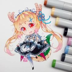 DONE❣ Tohru cosplay de Rem Y bueno, nadie adivinó las dos maids que me gustaban _(:'v_ #tohru #kobayashisanchinomaiddragon #maid #Rem #traditional #chibi #chibiart #kawaii #moe #cute #instadraw #instaart #copicmarker #copicsketch #copicmultiliner