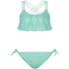 New Look Teens Blue Crochet Flounce Bikini Set ($19) ❤ liked on Polyvore featuring swimwear, bikinis, swimsuits, pale blue, blue ruffle bikini, blue bikini, flounce swim top, frill bikini top and blue bikini top