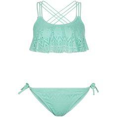 New Look Teens Blue Crochet Flounce Bikini Set ($19) ❤ liked on Polyvore featuring swimwear, bikinis, pale blue, flounce bikini top, crochet bikini, swimsuits tops, frill bikini top and ruffle bikini