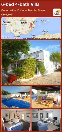 Villa for Sale in Countryside, Fortuna, Murcia, Spain with 6 bedrooms, 4 bathrooms - A Spanish Life Valencia, Bright Dining Rooms, Independent Kitchen, Portugal, Murcia Spain, Electric Radiators, Open Fireplace, Entrance Gates, Guest Suite