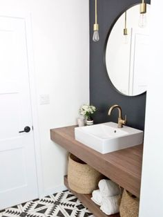 Small Bathroom Ideas Optimize the Space of Your Home Whether you drive of a soothing bath past spa-like paint colors or a bold bath considering a exciting color scheme, our gallery of bathroom color is clear to inspire. Downstairs Bathroom, Bathroom Renos, Bathroom Interior, Bathroom Ideas, Mirror Bathroom, Bathroom Small, Wall Mirror, Bathroom Storage, Bathroom Layout