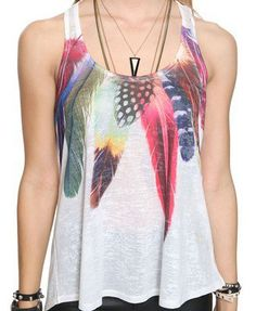 Watercolor Feathers Racerback Tank | FOREVER 21