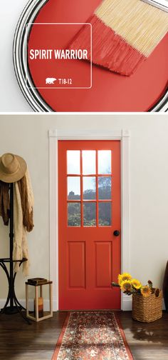 Add a bright pop of color to the interior design of your home with the help of Spirit Warrior by BEHR Paint. This vivid red shade acts as a modern accent color on a painted front door. This hue can be paired with a variety of home decor styles, including Home Decor Styles, Interior, Home Remodeling, Decor Interior Design, Home Decor, Home Deco, Room Colors, Interior Design, Rustic House