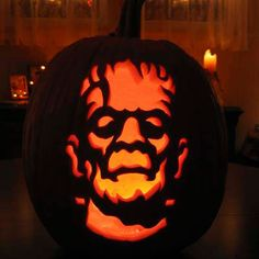 Boris Karloff as Frankenstein carved into a pumpkin Related Content Gallery: How to Carve a Pumpkin Gallery: Dremels and Other ...