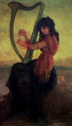 Muse Playing the Harp by Antoine Auguste Ernest Herbert;  I ordered a poster of this picture and had Joan frame it for my harp room!  ♥  Kay C.