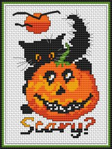 Halloween Cat • free cross stitch pattern from the Halloween section