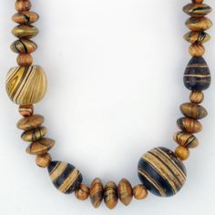 Round Seed Necklace With Marbleized Paint