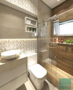 Banheiro moderno com destaque para o revestimento e para o interior do box de amadeirado . Bathroom Design Layout, Bathroom Design Luxury, Modern Bathroom Decor, Bathroom Design Small, Layout Design, Ideas Baños, Toilet Design, Small Room Bedroom, Bathroom Inspiration