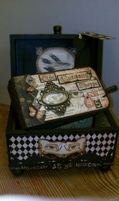 Click to see the blog to get all the glorious details of how to make your own altered box like this one @Clare Charvill made from our Olde Curiosity Shoppe collection! Stunning work! #graphic45 #DIY
