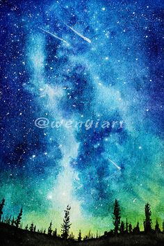 Starry night handpainted watercolor galaxy digital image (300dpi, 3000x4500px)