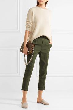 Army-green washed stretch-crepe Pull on 98% viscose, 2% elastane Machine wash Designer color: Ivy