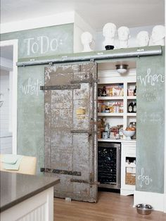 A green chalkboard wall and an internal barn door give this kitchen a … – Own Kitchen Pantry Interior Exterior, Home Interior, Kitchen Interior, Interior Design, Interior Doors, Modern Interior, Pantry Interior, Interior Ideas, Küchen Design