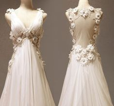 Vintage Chiffon Wedding Dress Bridal Gwon Deep V Backless Open Back with Flowers Pearls Floor length Lace wedding dress. $309.00, via Etsy.