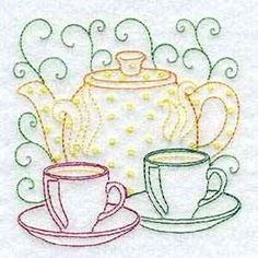 Buy Individual Embroidery Designs from the set Line Art Tea Pots 2 cups tea