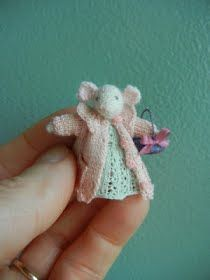 Tiny mouse w/pink sweater and white dress.  Oh I can't resist these tiny little things!