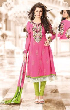 Pink color georgette kameez, kameez front decorated with self color resham embroiderede butta and multi color embroidered aplic cut work patch on york, sleeve and kameez back. As shown suit can be made available and also can be customized as per your style subject to fabric limitation.Unstitched kameez can be customize upto 40 inches. Salwar Kameez with Chiffon Dopatta and Satoon bottom. Approximate kameez length approx 46 TO 48 inches.